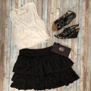 Black Layered Flounce Skirt